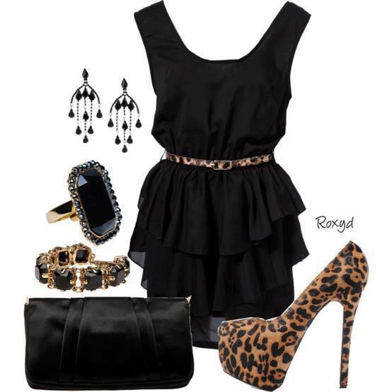 Roxyd black dress style and cheetah sandal for ladies