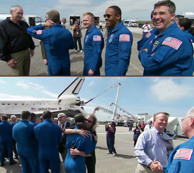 Pic 20: The crew of Shuttle Discovery's Mission STS-133 is greeted by NASA officials and ground team members of the mission. NASA, 2011.
