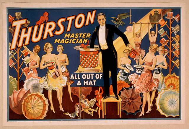 circus, classic posters, free download, graphic design, magic, movies, retro prints, theater, vintage, vintage posters, Thurston Master Magician, All Out of a Hat - Vintage Magic Poster