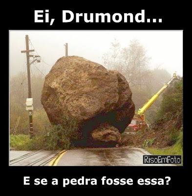Enorme pedra obstrui um caminho, como no poema de Drumond.