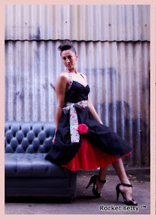 Black Cherry Signature Swing Dress by Rocket Betty Designs