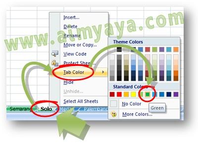 Gambar: Cara memberi warna tab sheet Microsoft Excel dengan warna tab sheet hijau