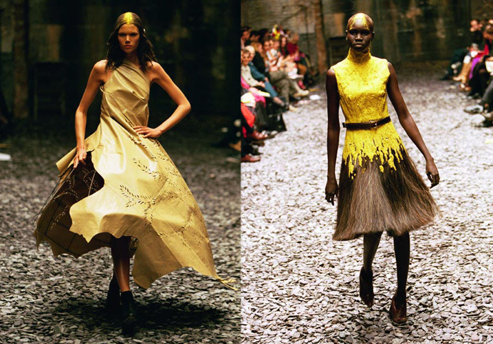 "A yellow bead and horse hair dress and laser cut and metal work gown from the ""Eshu"" Fall/Winter 2001-2002 collection / Alexander McQueen Savage Beauty Exhibition Victoria & Albert museum London / via fashioned by love British fashion blog"