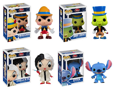 Disney Pop! Vinyl Figures Wave 1 - Pinnochio, Jiminy Cricket, Cruella de Vil & Stitch
