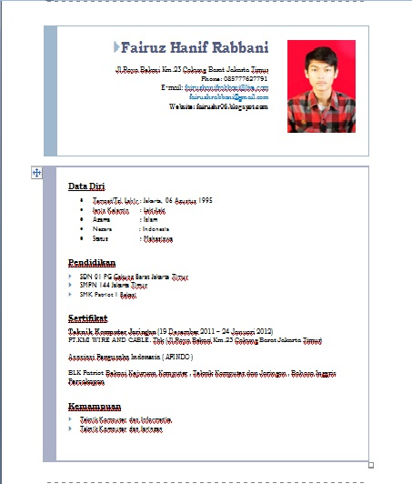 cara membuat cv di ms word 2007 fairuz hanif rabbani