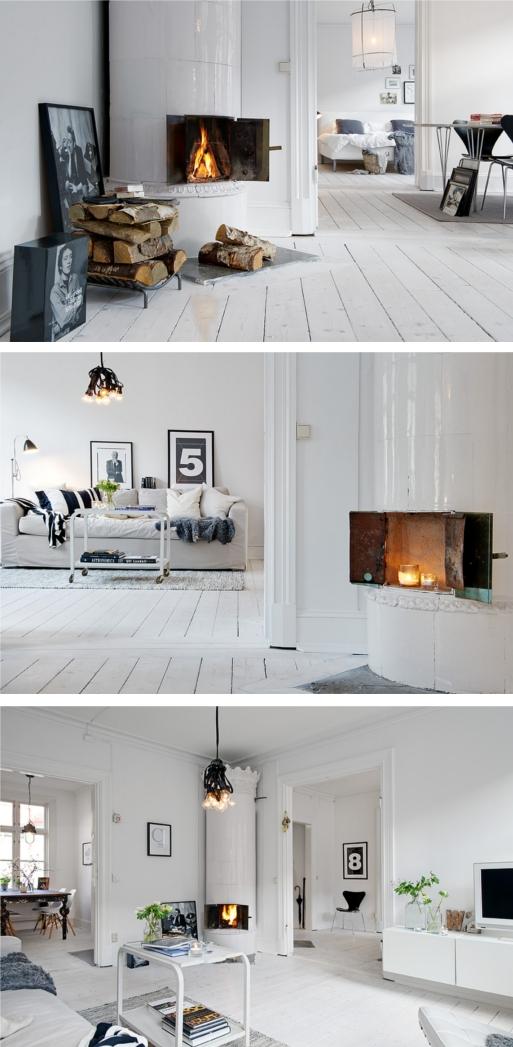 Witte houten vloeren met een toefje zwart villa d 39 esta interieur en wonen - Hoe kleed je een witte muur ...