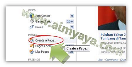 Gambar: Membuat page faceboook baru