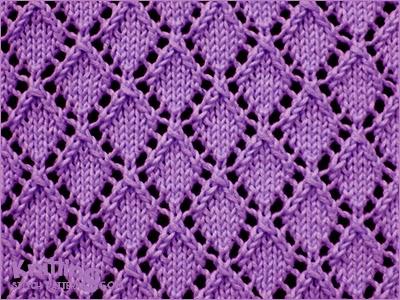 Net Lace Knitting Pattern : Openwork Diamonds - Pattern 1 Knitting Stitch Patterns