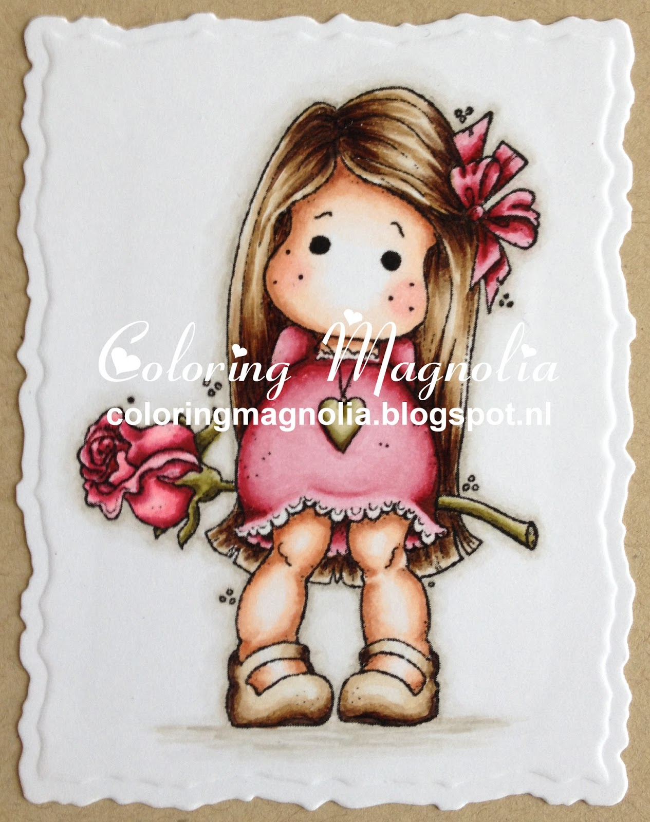 Coloring Magnolia Stamp 2013 Special Moments Collection - Tilda with Heart (Cross) Necklace