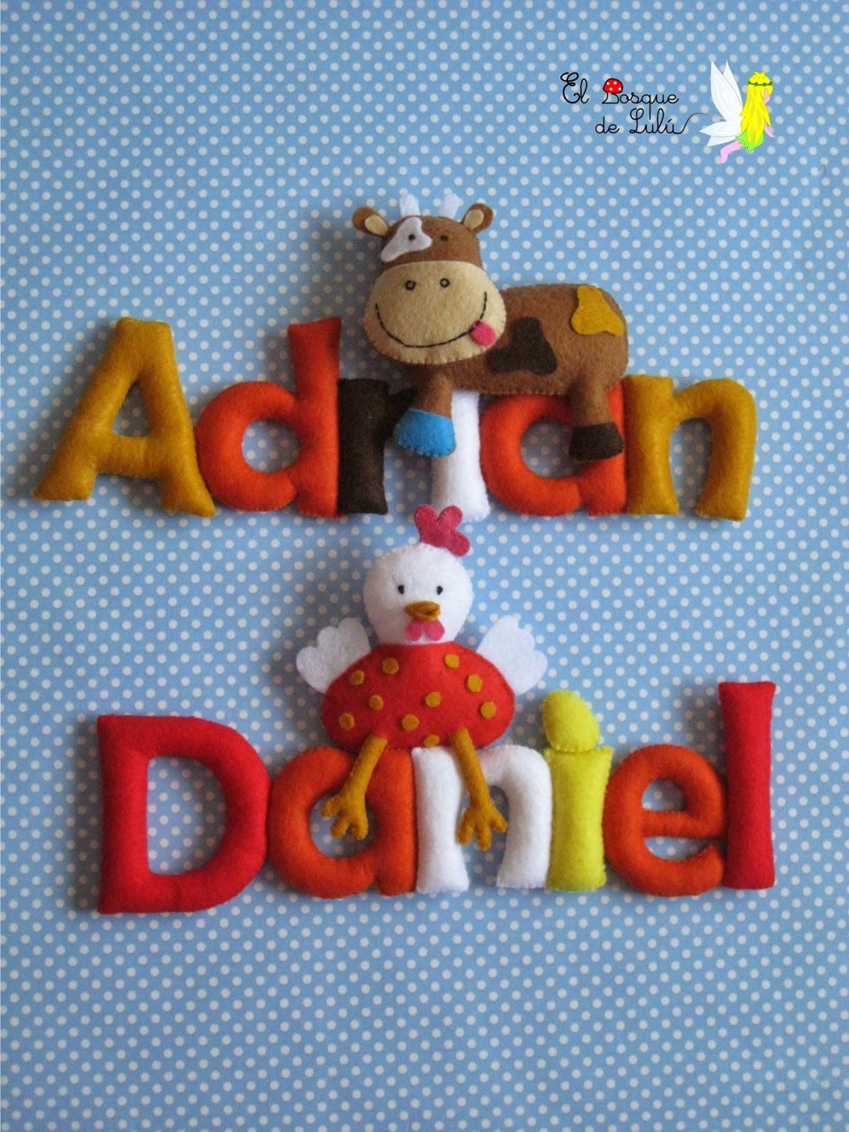 nombre-letrero-decorativo-fieltro-decoración-infantil-regalo-Daniel-Adrian-detalle-nacimiento-name-banner