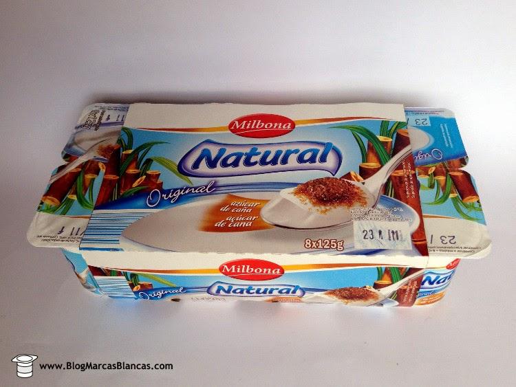Yogur natural con azúcar de caña (3,5% grasa) MILBONA de Lidl.