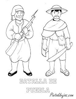 Batalla de Puebla para colorear | Vestuario para 5 de mayo