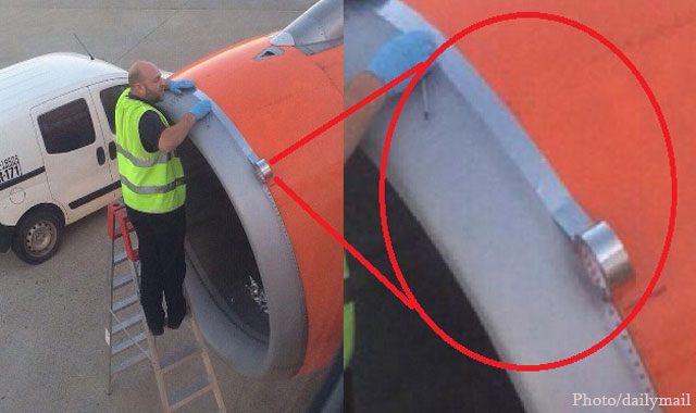 Airport Maintenance Caught on Cam using TAPE to Fix Plane's Engine