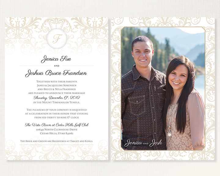 Kimberly Church || Damask Wedding Announcement