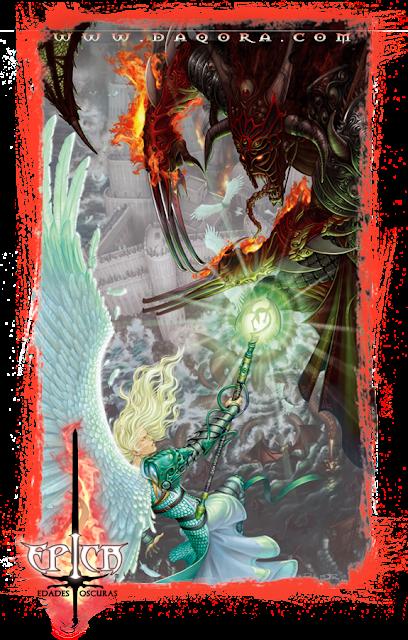 Ilustración de portada hecha por ªRU-MOR del juego de cartas ÉPICA: Edades Oscuras. De temática fantasía medieval y ro