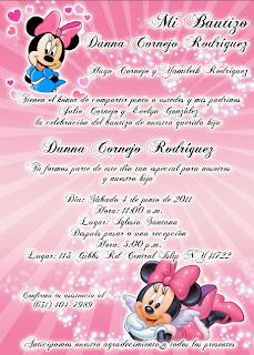 Invitacion Novedosa para Bautismo o Comunion de Minnie Mouse