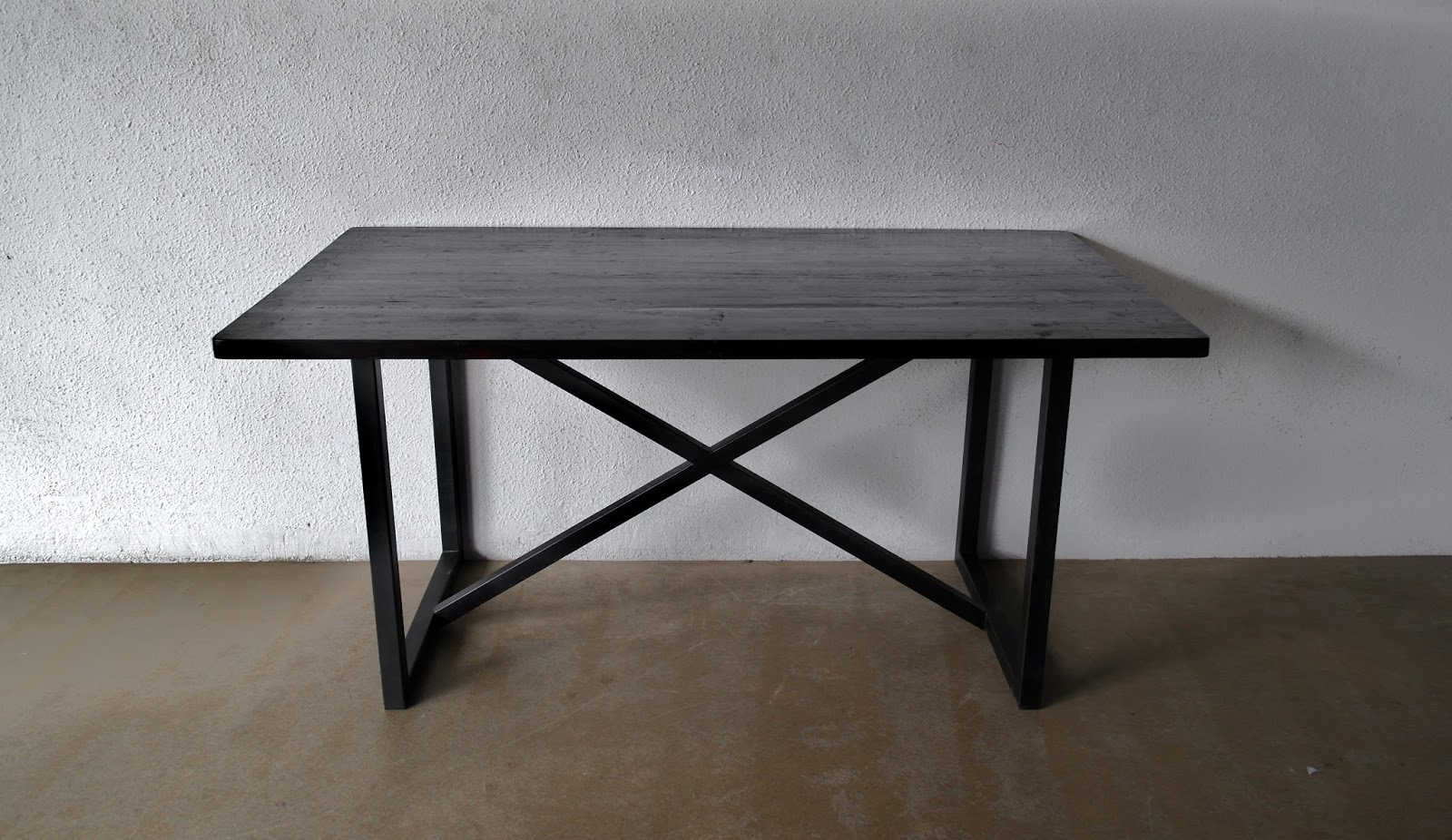 Superb img of Dining table with metal legs and 3 cm thick timber top stained dark. with #5D4E40 color and 1600x926 pixels