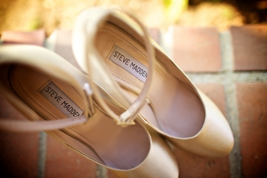 bride's gorgeous blush shoes with rhinestone heels