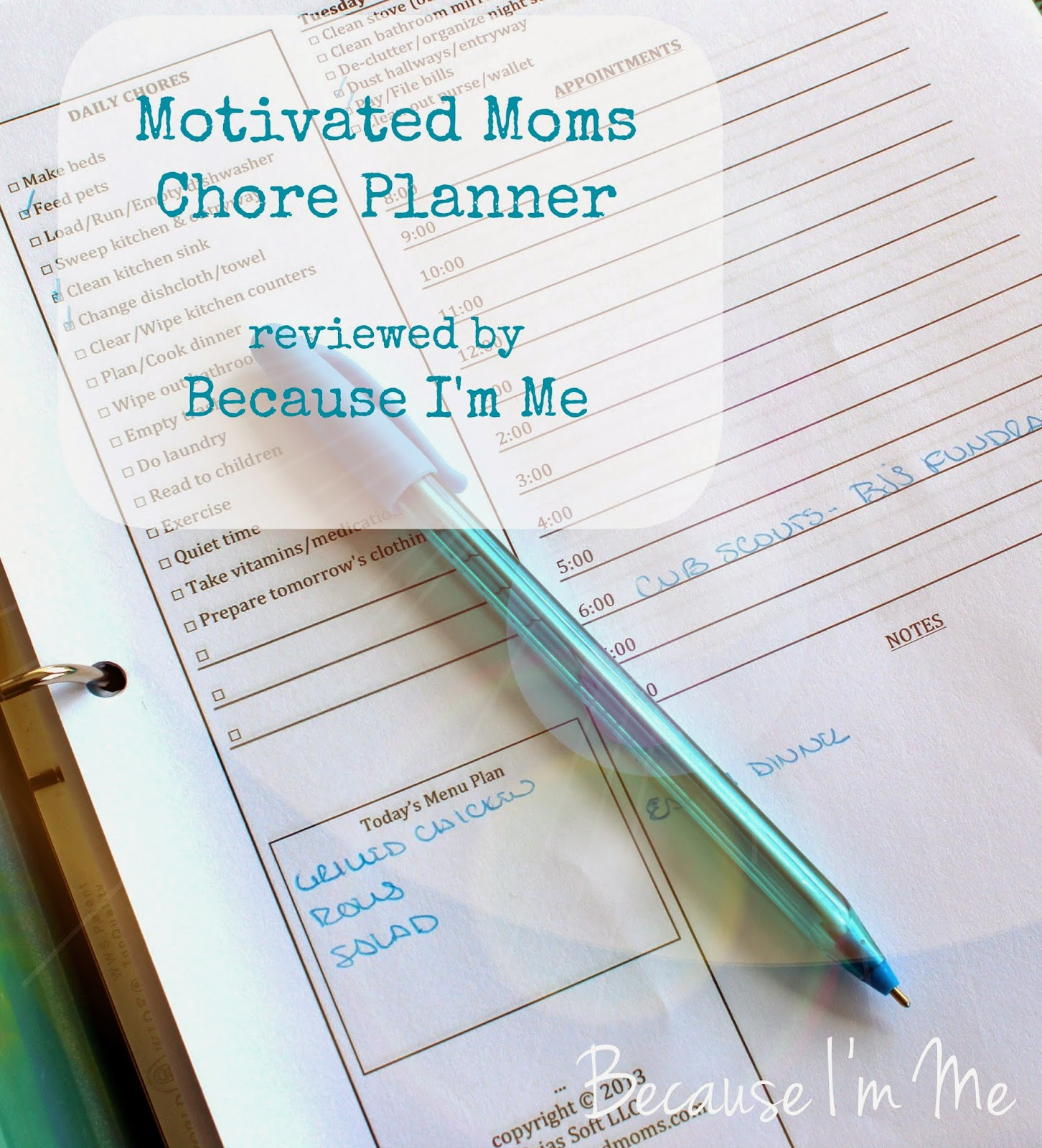 Because I'm Me reviews Motivated Moms daily chore planner - a must for staying organized and on top of the housework