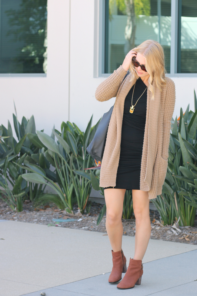 Current Habits, fashion blog, chunky sweater, body con dress, booties