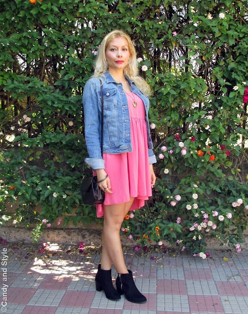 DenimJacket+AsymmetricalDress+AnkleBoots+CrossbodyBag+PeachLips - Lilli Candy and Style Fashion Blog
