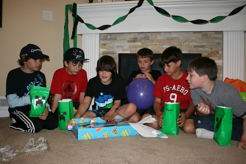 When the game was over i gave each boy an empty creeper gift bag to