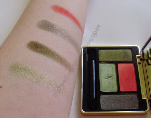 swatches Guerlain Écrin 4 Couleurs, Coup de Foudre 502 green eyeshadows grey