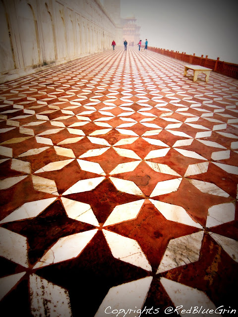 flooring made of marble and red stone at Taj Mahal