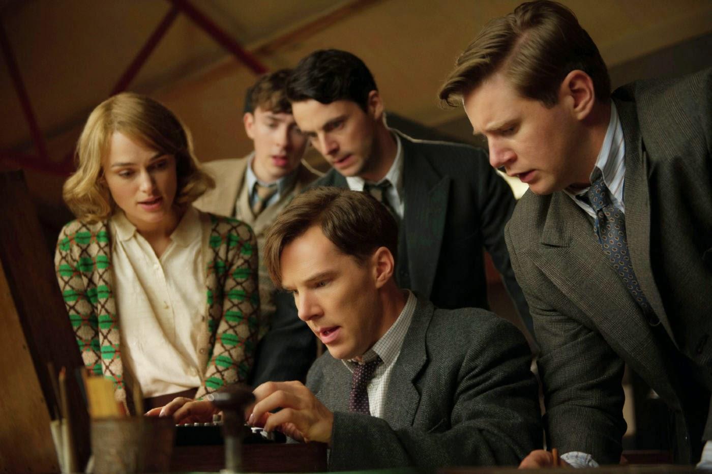 Keira Knightley, Matthew Beard, Matthew Goode, Allen Leech, and Benedict Cumberbatch in The Imitation Game