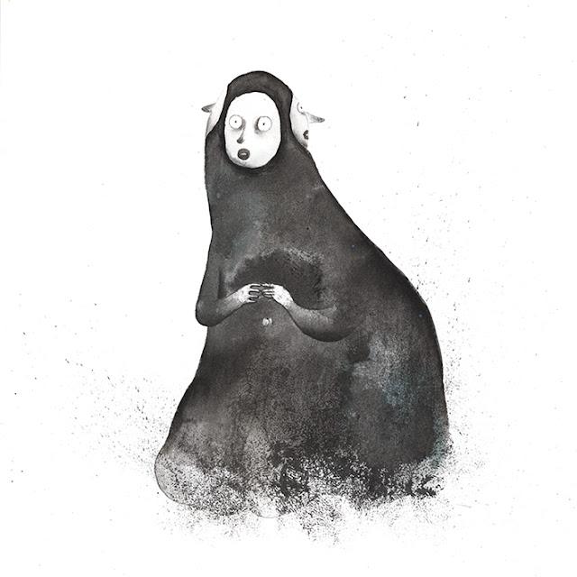 Mar Villar, Inktober 2015, personaje de negro con máscaras
