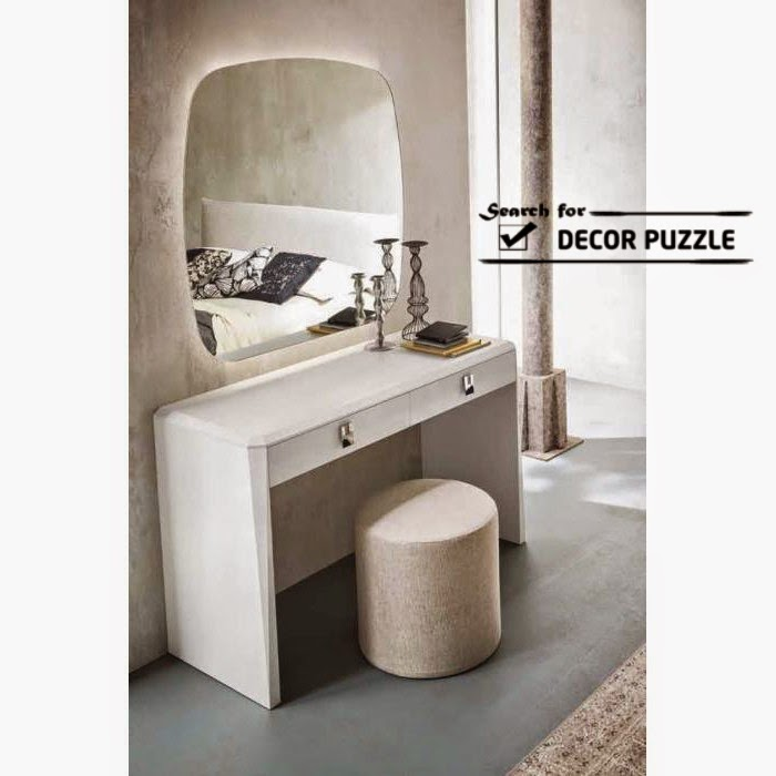 Modern White Dressing Table With Mirror And Lights