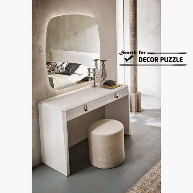Luxury modern white dressing table designs with mirror and for Dressing table with lights