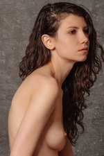 Pretty brunette Trishi shows off her furry beaver - Morey Studio