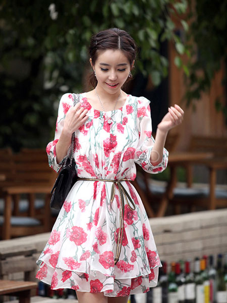 China Wholesale Clothes - Sweet Chiffon Floral Print Layered Ruffles Print Short Dress