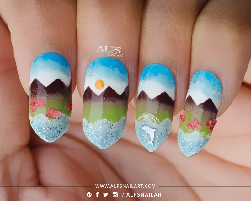 Landscape Nail Design Using Scaled Gradient Technique With Tutorial
