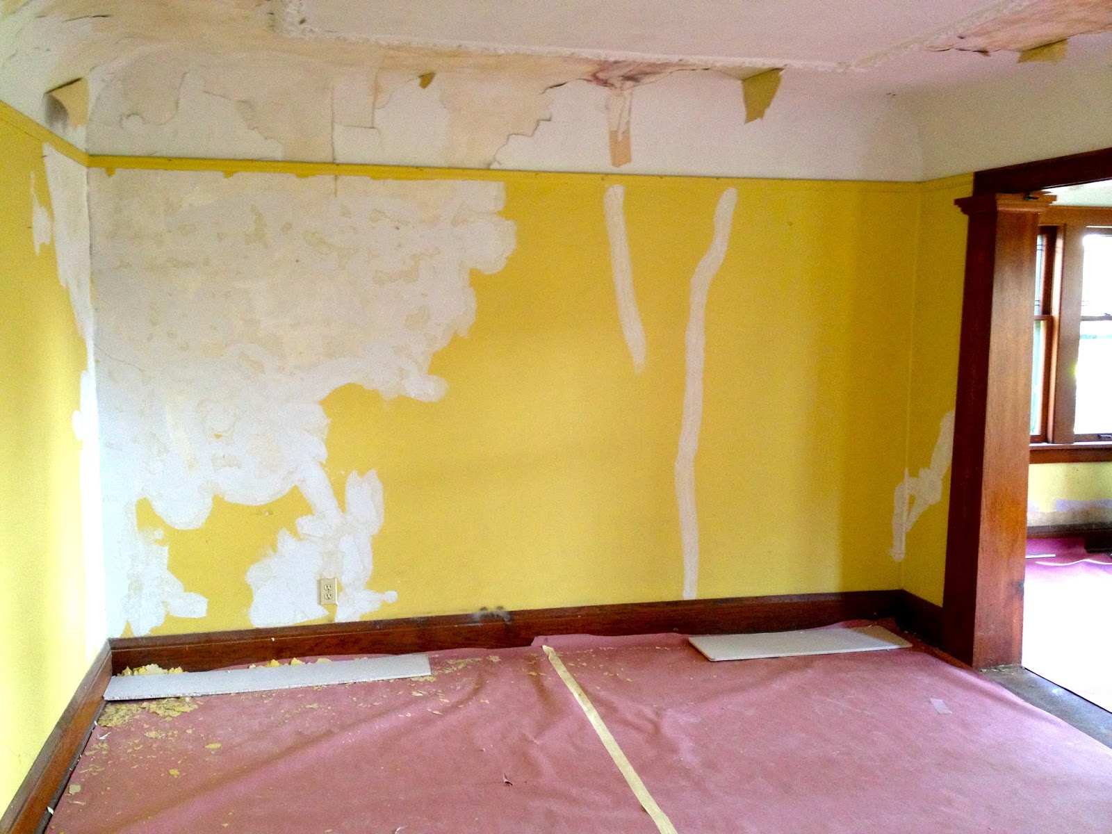 Yellow Gypsum Board ~ Yellow brick home drywall progress