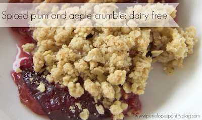 Dairy free spiced plum and apple crumble