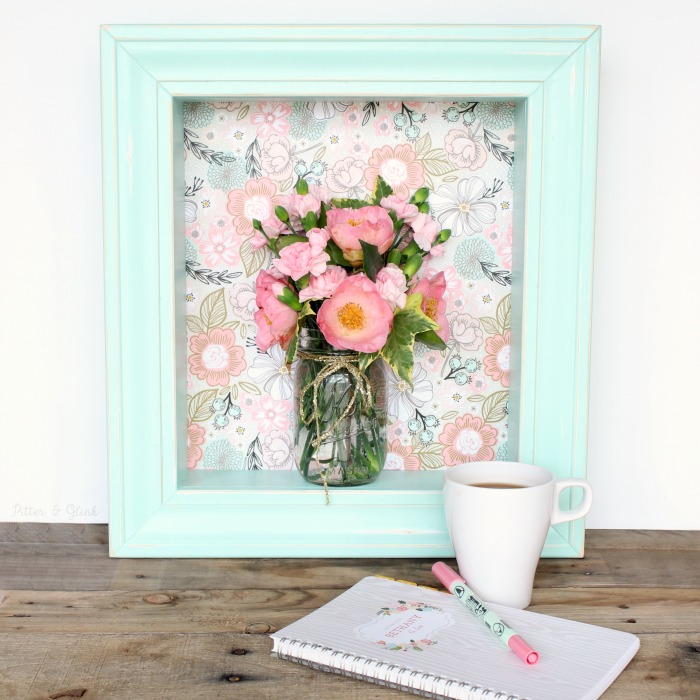 DIY Pastel Floral Shadowbox Shelf--The perfect touch of spring for your home! pitterandglink.com