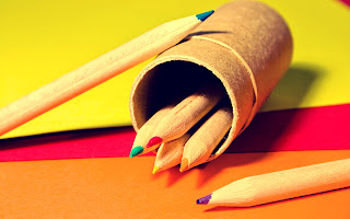 Color Pencils and Pencil Box HD Wallpaper
