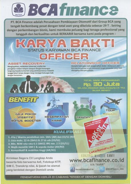 LoKer BCA Finance Desember 2012 untuk Seluruh Area Di Indonesia Tingkat SLTA, D3 & S1