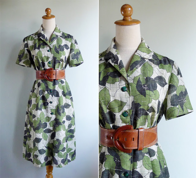 vintage 70's graphic leaf pattern dress