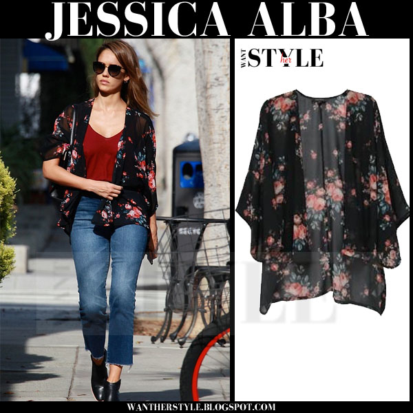 Jessica Alba in black floral print jacket karen kane what she wore streetstyle
