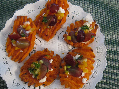 ... with Grandpat: Sweet Potato Crostini with Goat Cheese and Grape Salsa