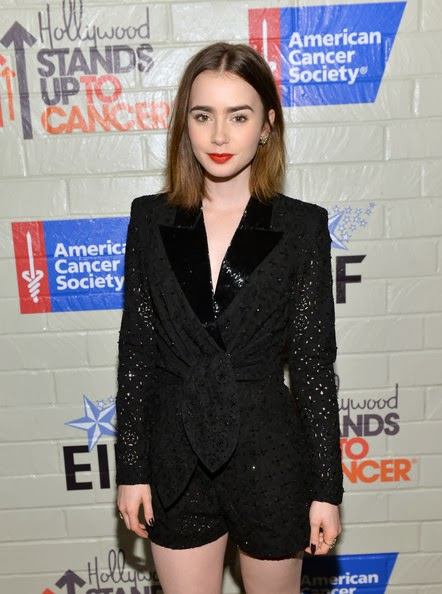 Lily Collins Medium Straight Cut Hairstyle