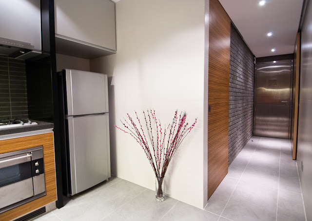 Picture of modern kitchen and narrow hallway as part of the Hong Kong apartment design
