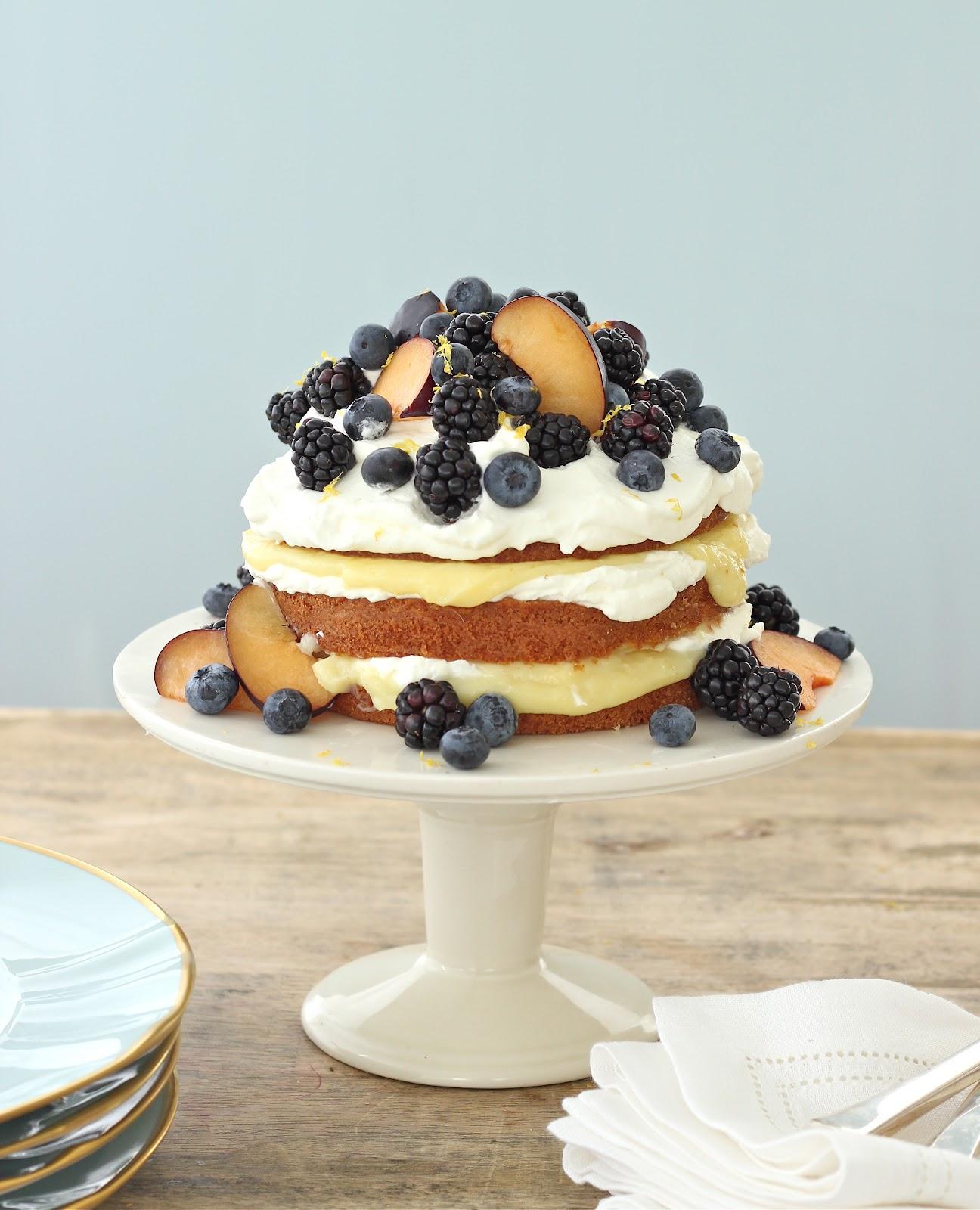 ... Cake with Lemon Curd Creme, Blackberries, Blue Berries & Black Plums