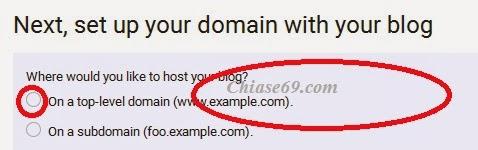 cài đặt tên miền vào cho blogspot