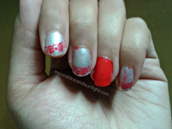 Red Bow And Silver Nail Art Moonshine And Sunlight Indian