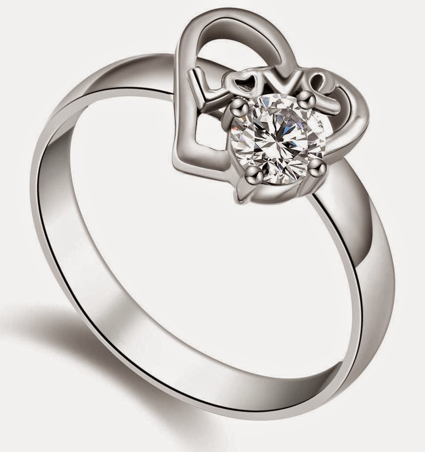 Heart Shaped Women's Wedding Rings with Diamond Model pictures hd