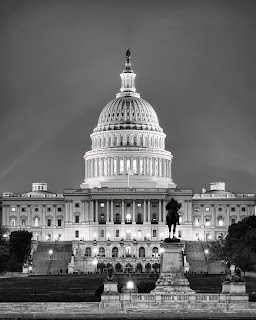 Black and white photo of the Capitol